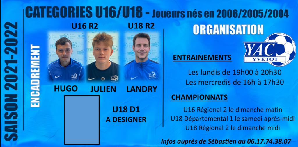 SAISON 2021-2022: CATEGORIES U16 ET U18