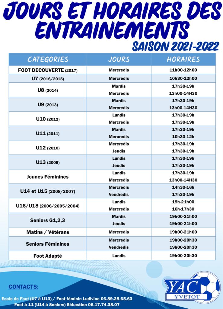 JOURS ET HORAIRES D'ENTRAINEMENTS SAISON 2021-2022
